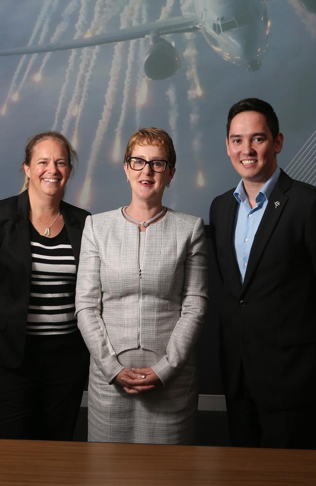 Boeing Defence Australia chief engineer Kathryn Burr, Human Resources Director of Boeing Defence Australia human resources director Melissa Davidson and systems engineer Alex Bowen-Rotsaert. Picture: Jono Searle.