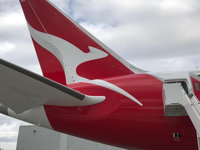 SEATTLE 16 October 2017: Qantas has unveiled its first Boeing Dreamliner, the game-changing aircraft that will open up new routes and new levels of comfort for travellers.   Picture: Edward Boyd