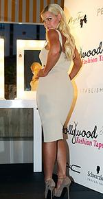 <p>Hollywood Fashion Tape Party, held at the Ivy Club in George Street, Sydney. Sophie Monk. Pic: Jim Trifyllis</p>