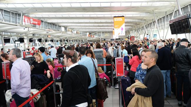 Busier than usual: A power outage stopped the security screening working, leaving hundreds stranded in the Domestic Terminal at Sydney Airport.