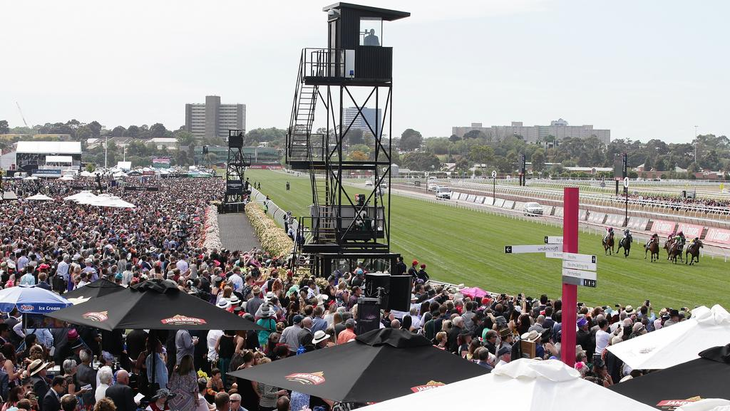 The famous Flemington straight: the most recognised piece of turf in Australian racing. Picture: Andrew Tauber