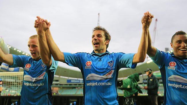 Alessandro Del Piero celebrates a Sydney FC win. Picture: Mark Evans