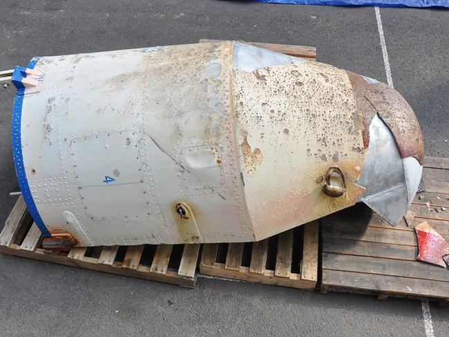 In this photo provided by the South Korean Defense Ministry, an object believed to be a part of a North Korean rocket is displayed on a South Korean navy ship in undisclosed location in South Korea. . Picture: South Korean Defense Ministry