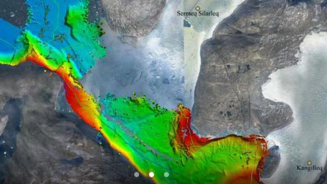 Sea floor depths on Greenland's west coast, measured by sonar aboard a research ship as part of the OMG project. PIC: NASA/JPL-Caltech