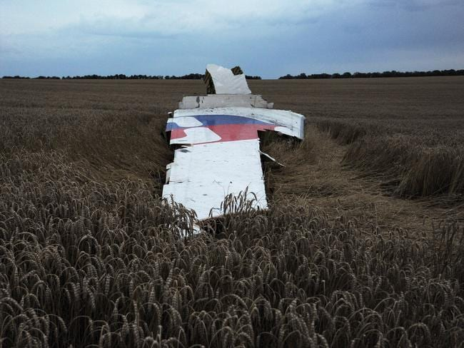 Ill-fated flight ... wreckage of the Malaysian airliner carrying 298 people from Amsterdam to Kuala Lumpur after it crashed near the town of Shaktarsk, in rebel-held east Ukraine.