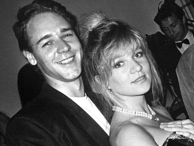 A young Russell Crowe and Danielle Spencer together in 1992. Picture: News Limited.