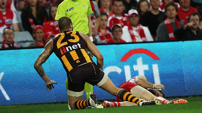 Hawthorn's Lance Franklin after putting a late hit on Sydney's Nick Malceski during round 23 AFL match between Sydney Swans v Hawthorn Hawks at ANZ Stadium. pic. Phil Hillyard Picture: Hillyard Philip