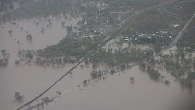 Aerials of flooding between Gracemere and Rockhampton, central Queensland. PIC: Peter Wallis