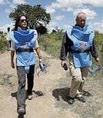 <p>Danish Crown Princess Mary, left, participates in a demining exercise with Mark Livingstone, right, of the Danish Demining Group, near Gulu, northern Uganda. AP Photo</p>
