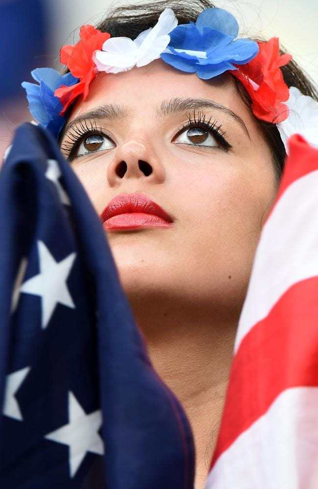 A US fan watches the game against Portugal.