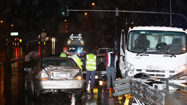 The Rozelle crash closed the road for a short period of time last night. Picture: Bill Hearne