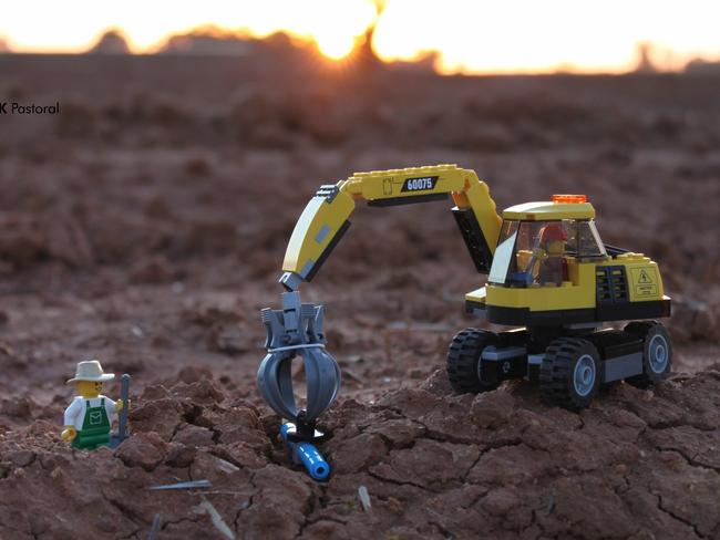 Laying pipes is all part of the job when you're a Lego farmer working the land. Picture: Aimee Snowden/LBP