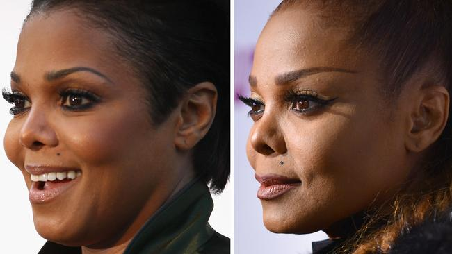 Left: Janet Jackson in 2011. Right: Jackson last week. Picture: Getty