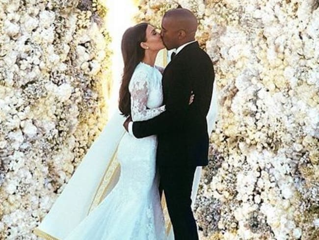 Four days to perfect: Kim Kardashian and Kanye West's official wedding photo. Picture: Instagram kimkardashian.