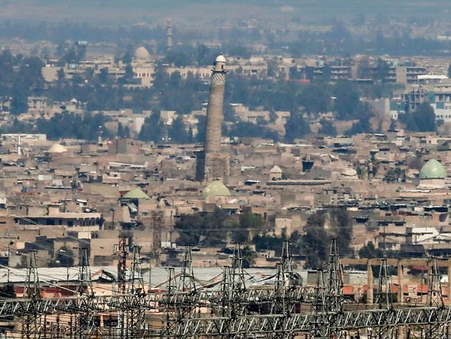 A view of the west Mosul skyline featuring the leaning minaret of the Great Mosque of al-Nuri in Mosul, where Islamic Stateleader Abu Bakr al-Baghdadi declared his caliphate. Picture: AFP