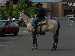 Supplied Editorial Cowboy lassos bike thief Picture: Eagle Point Police Department/Facebook