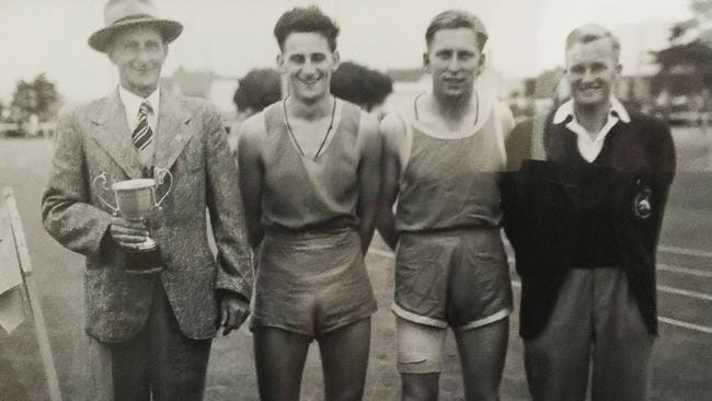 Ashton Shirley (2nd left) with his father Cyril, and first cousin Ray Geary (1945 winner) and trainer Ray Patmore after winning the 1949 Burnie Gift. Picture: THE FRIENDLY BAY ISLANDER