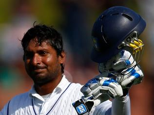 WELLINGTON, NEW ZEALAND - JANUARY 04: Kumar Sangakkara of Sri Lanka leaves the field on 203 runs after being caught by Trent Boult during day two of the Second Test match between New Zealand and Sri Lanka at Basin Reserve on January 4, 2015 in Wellington, New Zealand. (Photo by Phil Walter/Getty Images)