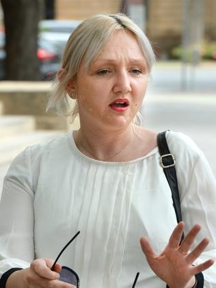 Holland-Harris outside the Adelaide Magistrates Court last year. Picture: Greg Higgs