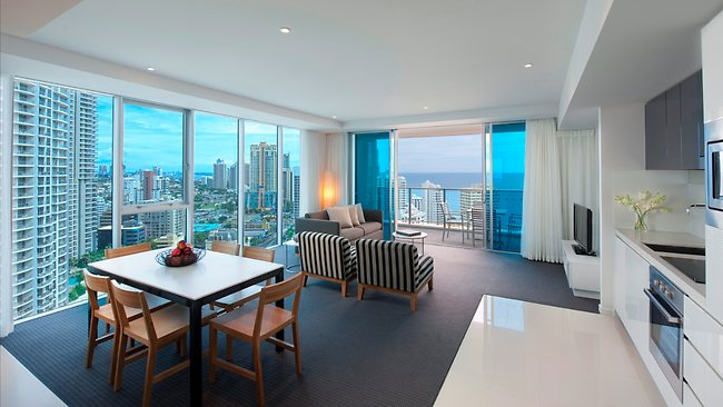 Inside the luxurious Hilton Surfers Paradise Hotel and Residences on the Gold Coast in Queensland. There are one, two and three bedroom residences available in both towers as well as hotel rooms.