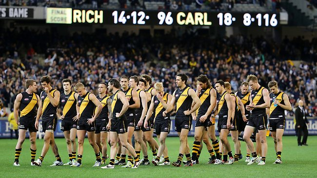 Richmond players leave the field after the loss. Picture: George Salpigtidis