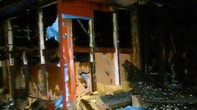 It is believed the blaze was started by a cigarette lighter. Picture: Channel 9.
