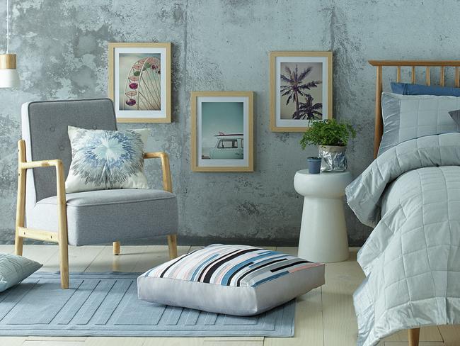 Assorted items from the new Aldi range, including the Tate arm chair in grey.