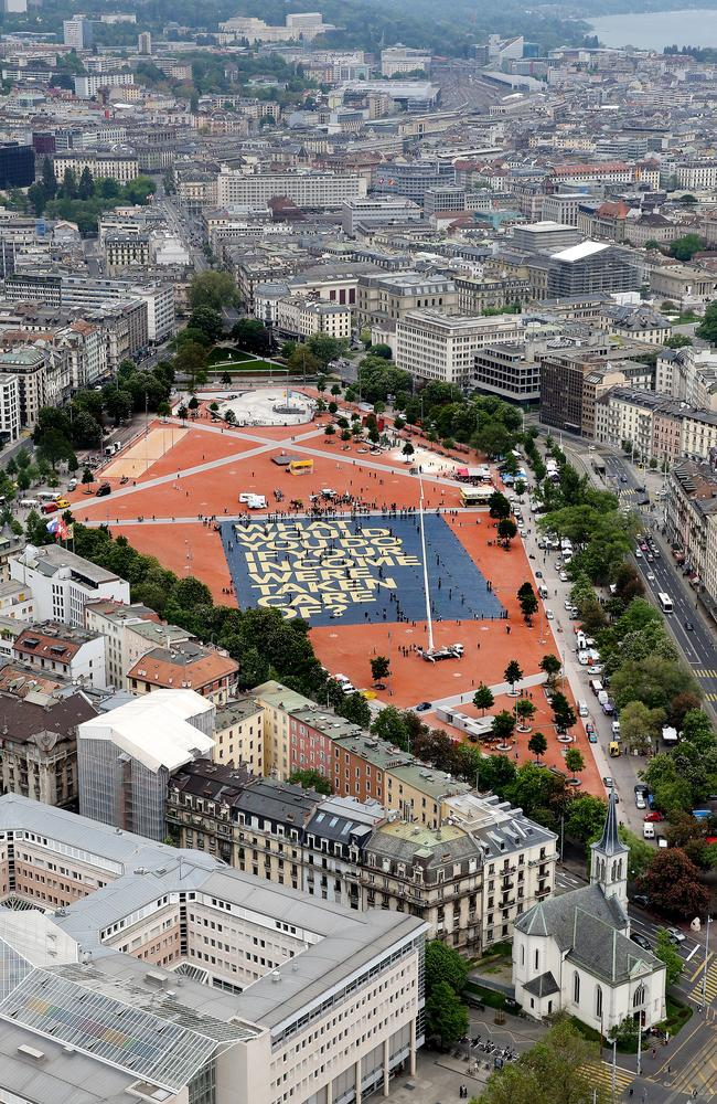 The campaign has generated enormous traction with giant signs that have broken Guiness world records. Pictured, a sign covering 8000 square meters and weighing seven tonnes is unveiled in Geneva. Picture: Magali Girardin/Keystone.