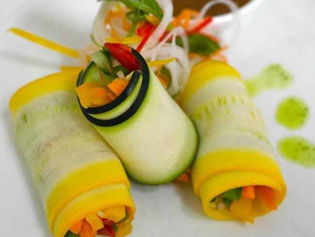 Zucchini rolls made with thought and spirituality.
