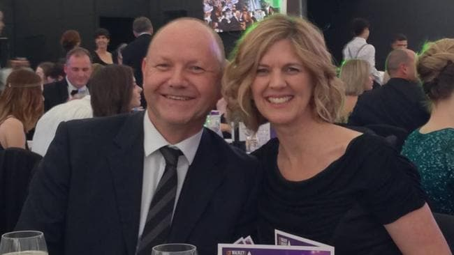Producer Stephen Rice pictured with his wife Denise at the 2015 Walkley Awards.