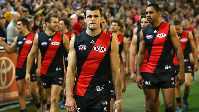 The Bombers walk around the field and thank fans for their support during a difficult year for the Essendon Football Club.