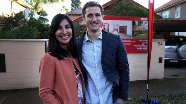 The winning bidders for 54 Edward St, which they bought for $1.615 million. Picture: Jane Dempster