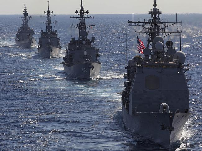 USS Cowpens leads Japan Maritime Self Defence Force's vessels during 'Keen Sword' US Japan joint military exercise over the ...