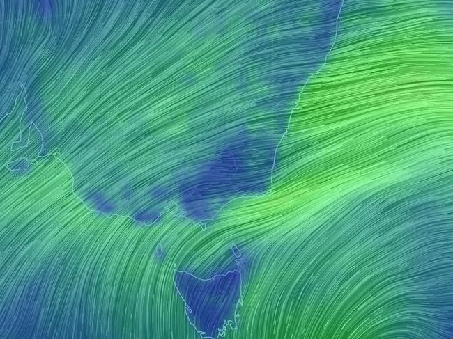 Wind map of eastern Australia. Picture: Earth Nullschool