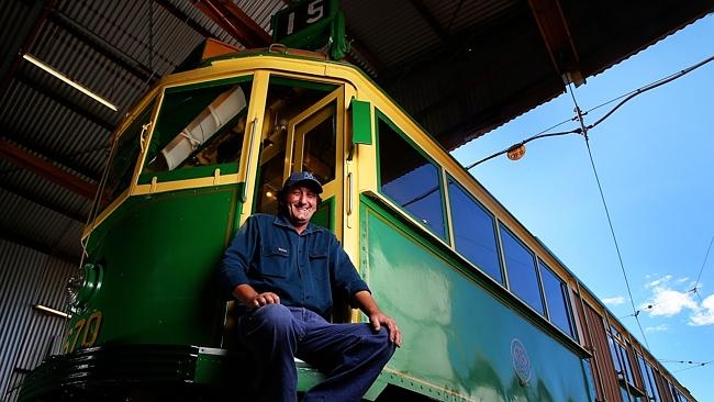Tony Smith spends days and nights restoring tram cars for the Melbourne Tramcar Preservation Association in Haddon, near Ballarat.