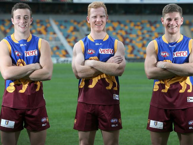 The Brisbane Lions Mozzie Squad, Lewis Taylor, Josh Green and Dayne Zorko. Pic Jono Searle.