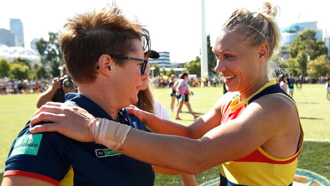 Erin Phillips with coach Bec Goddard after Sunday's AFLW win over Collingwood. Photo: Michael Willson/Getty Images