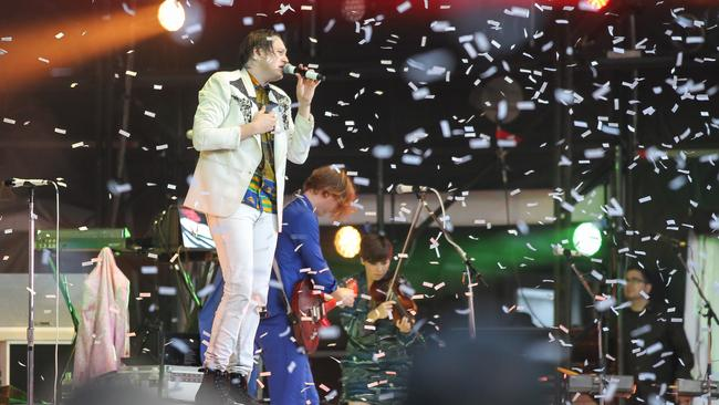 Big Day Out headliners Arcade Fire at the Sydney Showgrounds. Picture: Attila Szilvasi.