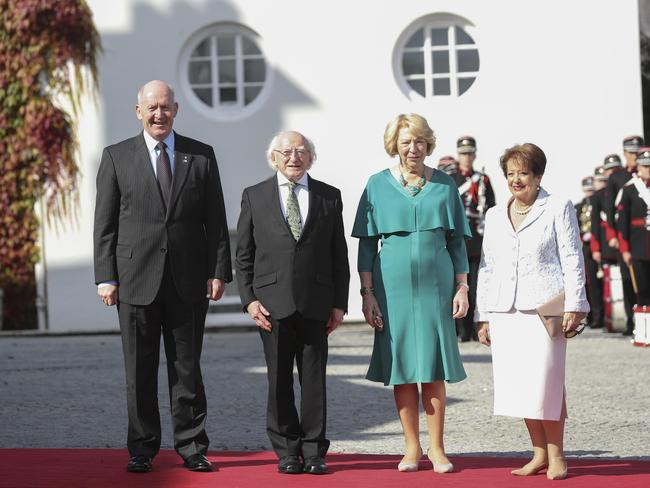 Governor-General Sir Peter Cosgrove with President of Ireland Michael D. Higgins. his wife Sabina and Lady Cosgrove. Picture: Conor McCabe