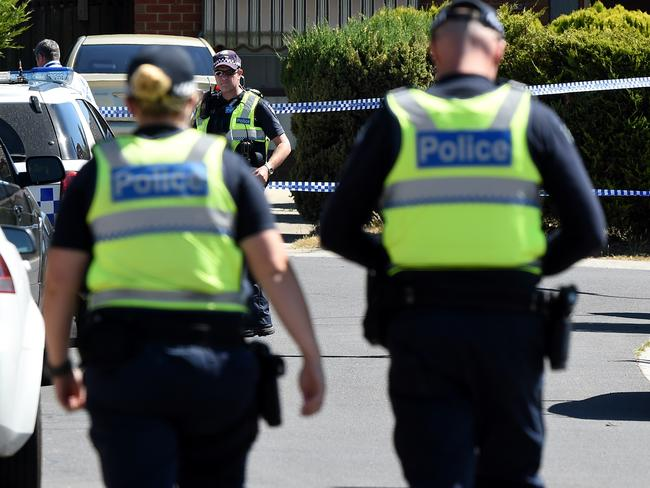 Police remained at a property in Meadow Heights this morning where it is believed explosives are being stored in relation to the Christmas terror plot. Picture: Nicole Garmston