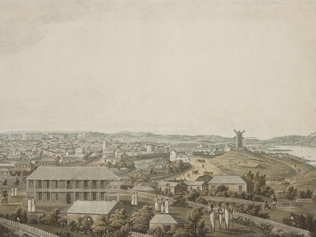 "Artist Major James Taylor's painting ""Panoramic Views of Port Jackson"" circa 1821 offers a 360 degree view of Sydney from Observatory Hill. Picture: State Library of Nsw."
