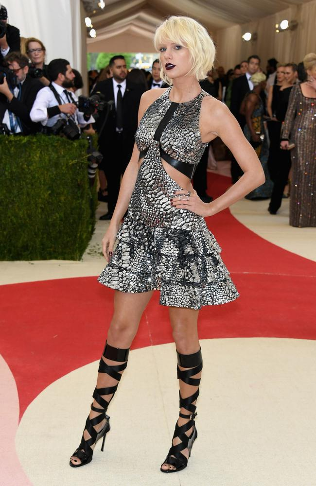 Taylor Swift at the Manus x Machina: Fashion In An Age Of Technology-themed Met Gala at the Metropolitan Museum of Art last year. Picture: Getty Images