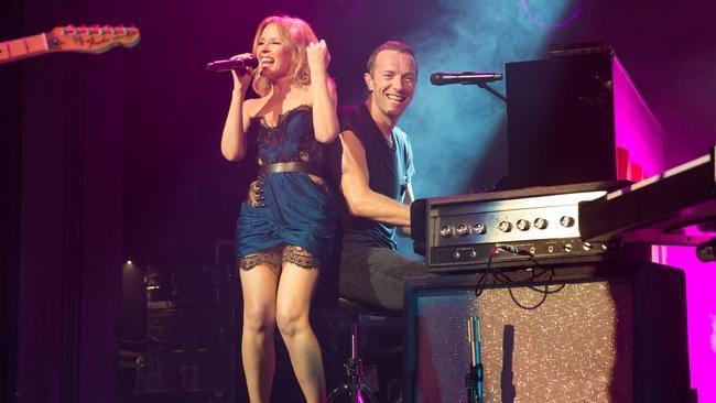 Hot act ... Kylie Minogue performs with Coldplay at The Enmore Theatre in Sydney. Picture: Daniel Boud