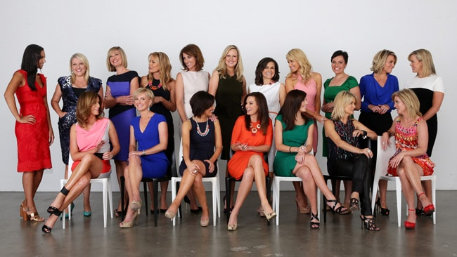 TV news reporters from all Sydney channels pictured together to celebrate women in TV news. L to R, (standing) Janice Peterson, Angela Bishop, Tara Brown, Sonia Kruger, Natalie Barr, Melissa Doyle, Lisa Wilkinson, Magdalena Roze, Natalie Ahmat, Georgie Gardner, Samantha Armytage. L to R, (seated) Kylie Gillies, Deborah Knight, Natarsha Belling, Wendy Kingston, Hermione Kitson, Sandra Sully and Juanita Phillips. Picture: Sam Ruttyn