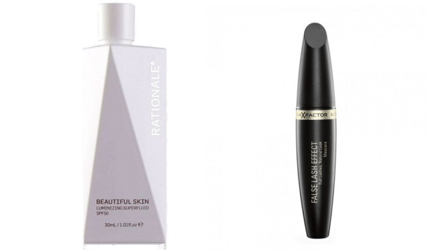 Left to right: Rationale Beautiful Skin Luminizing Superfluid SPF50 and Max Factor False Lash Effect Mascara