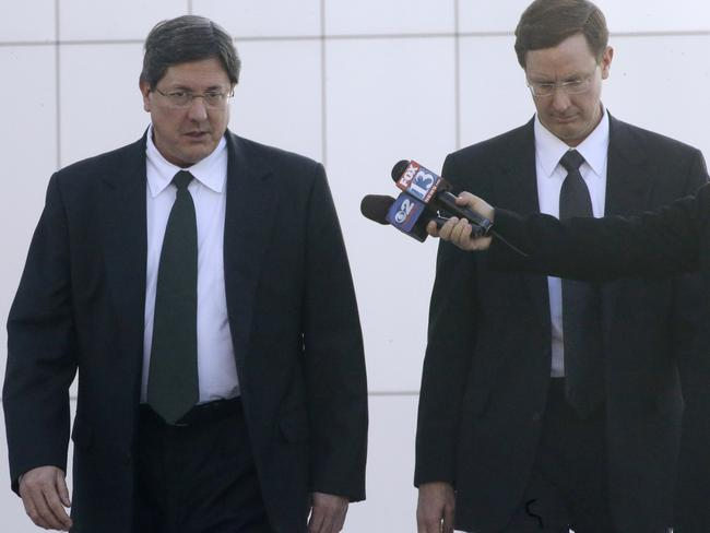 Family ... brothers Lyle Jeffs (left) and Nephi Jeffs leave the federal courthouse in Salt Lake City in January 2015. Picture: AP Photo/Rick Bowmer
