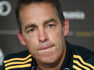 Hawks coach Alastair Clarkson answers questions from journalists during the Round 4 AFL match between the Hawthorn Hawks and Geelong Cats at the MCG in Melbourne, Monday, April 17, 2017. (AAP Image/Julian Smith) NO ARCHIVING, EDITORIAL USE ONLY