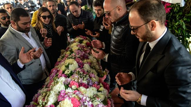 The joint funeral took place in Istanbul overnight. Picture: AFP PHOTO / YASIN AKGUL