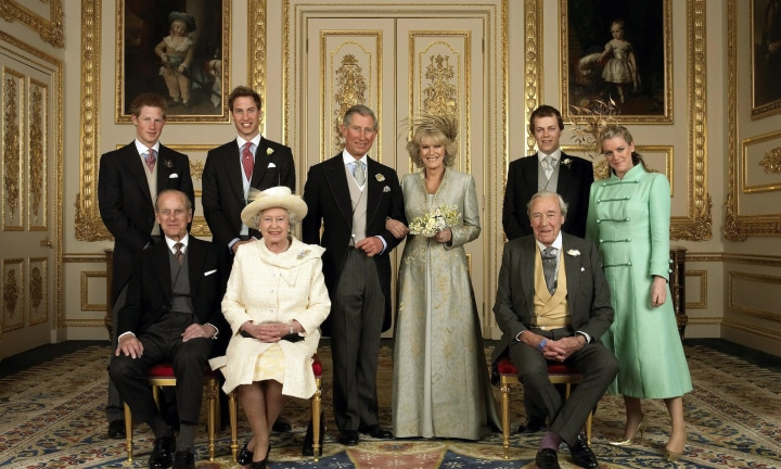 /MANDATORY /CREDIT - AFP - Official family photo of the Prince of Wales and his new bride Camilla, Duchess of Cornwall, with their families (L-R back row Prince Harry, Prince William, Tom and Laura Parker Bowles; (L-R front row) Prince Philip, Britain's Queen Elizabeth II and Camilla's father Major Bruce Shand, in the White Drawing Room at Windsor Castle 09 Apr 2005, after their wedding ceremony. PicHugo/Burnand /Clarence /House royalty group