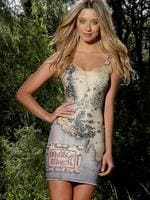 Caitlyn Paterson models Black Milk's Lord of the Rings Middle-earth map dress. Pic: Chris Pavlich